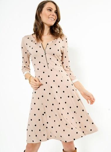 Fermuarlı Kloş Elbise -Ola